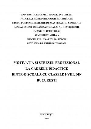 Cercetare - Motivatia si Stresul Profesional la Cadrele